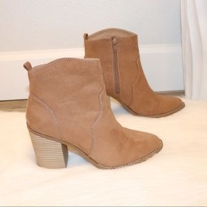 Express tan  ankle boots size 9.